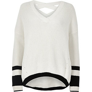 White stripe knit cross strap V neck sweater