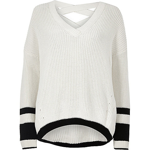White stripe knit cross strap V neck jumper