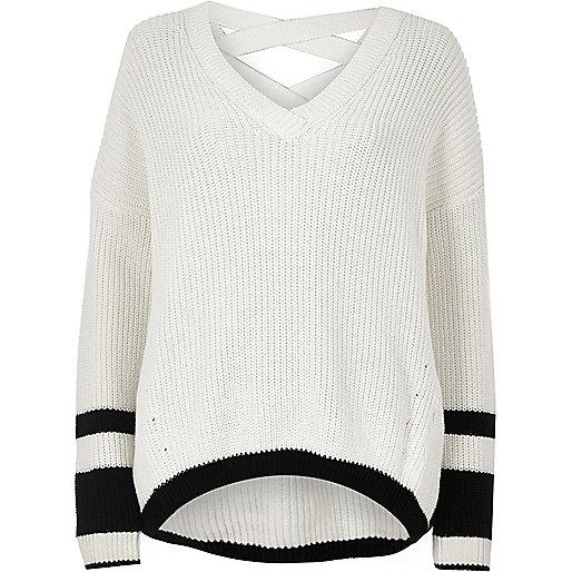 White stripe knit cross strap V neck sweater