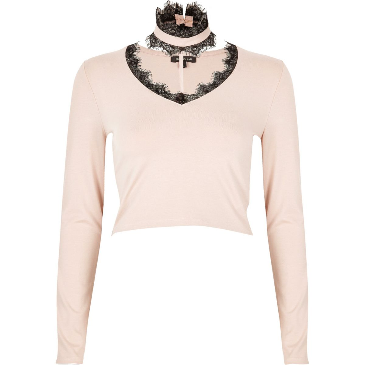 Pink lace T-bar crop top