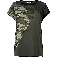 Khaki camo mesh panel boyfriend T-shirt