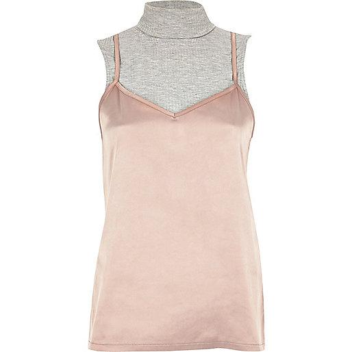 Pink satin turtleneck 2 in 1 top