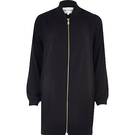 Black duster bomber jacket