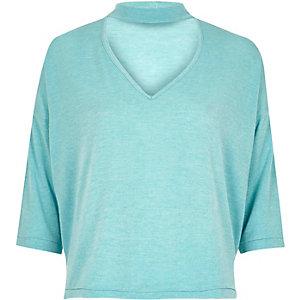 Light blue knit choker top