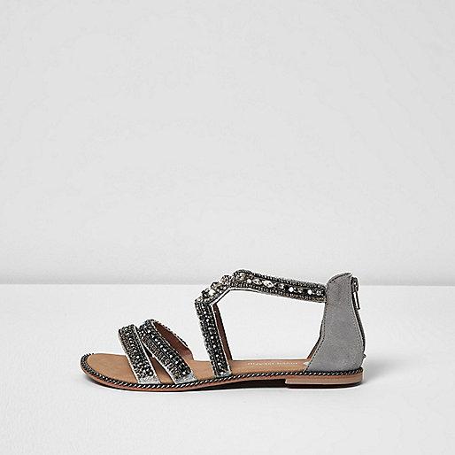 Grey embellished strappy sandals
