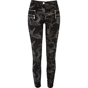 Grey camo zipped super skinny trousers