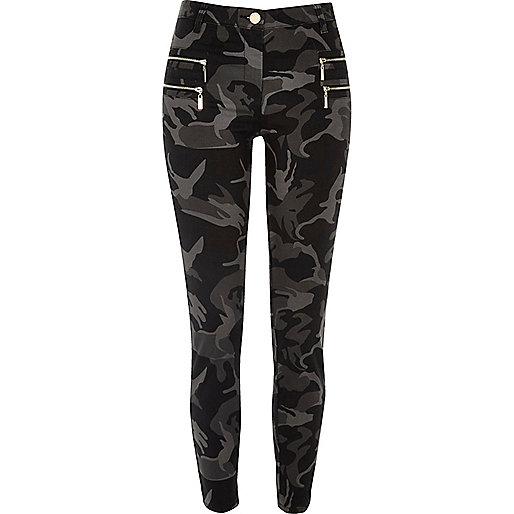 Pantalon super skinny camouflage gris zippé