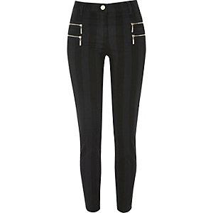 Black stripe zipped super skinny pants