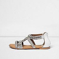 Zilverkleurige verfraaide sandaal