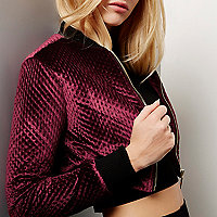 Burgundy velvet cropped bomber jacket