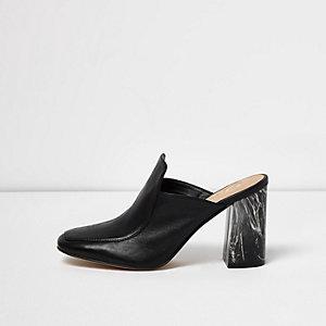Black closed toe marble heel mules