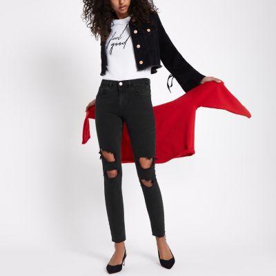 Alannah Zwarte ripped relaxte skinny jeans