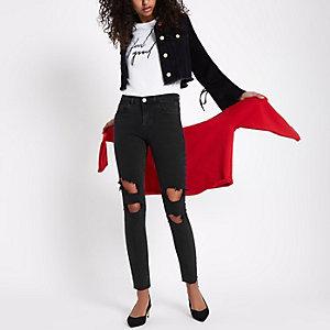 Alannah zwarte ripped relaxte skinny jeans