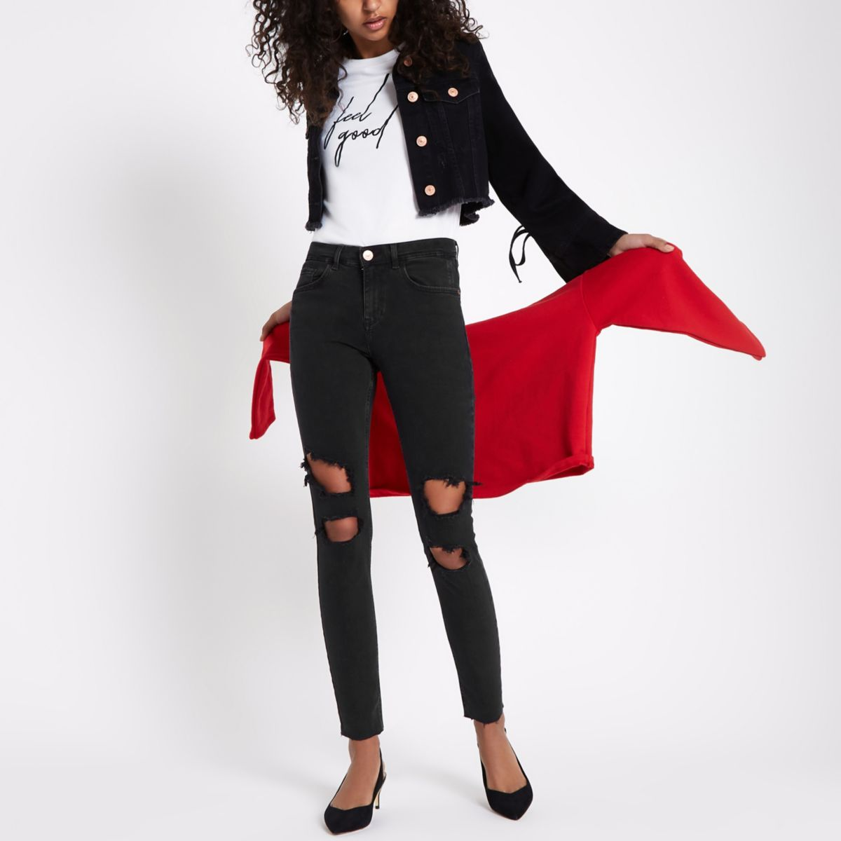 Alannah - Zwarte ripped relaxte skinny jeans