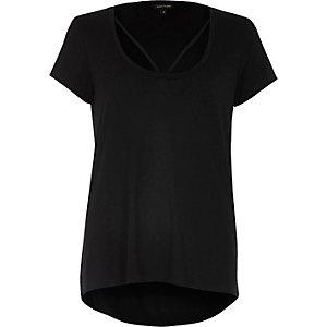 Black strappy neck t-shirt