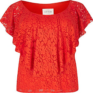 RI Plus red daisy lace bardot top
