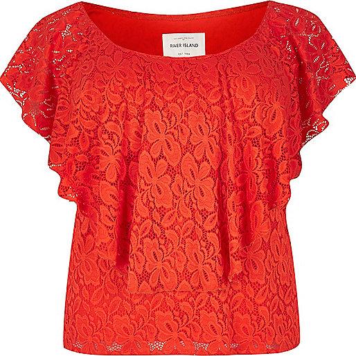 RI Plus red daisy lace bardot top