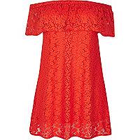 RI Plus – Rotes Bardot-Kleid mit Blumenmuster