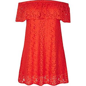 RI Plus red daisy lace bardot dress