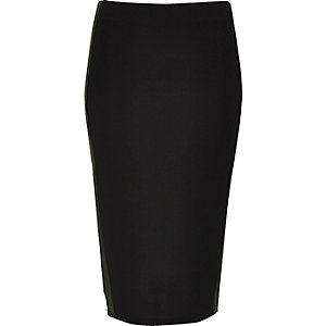 Black jersey stripe pencil skirt