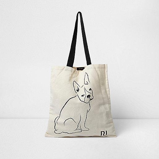 Beige Shopper-Tasche mit Bulldogge