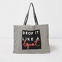 Black word print shopper bag