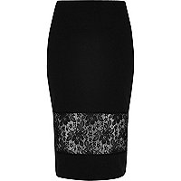 Black lace panel pencil skirt