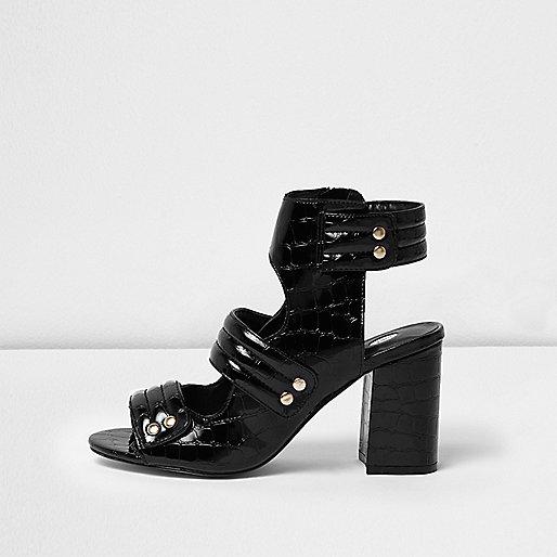 black patent croc strappy shoe boots shoes boots