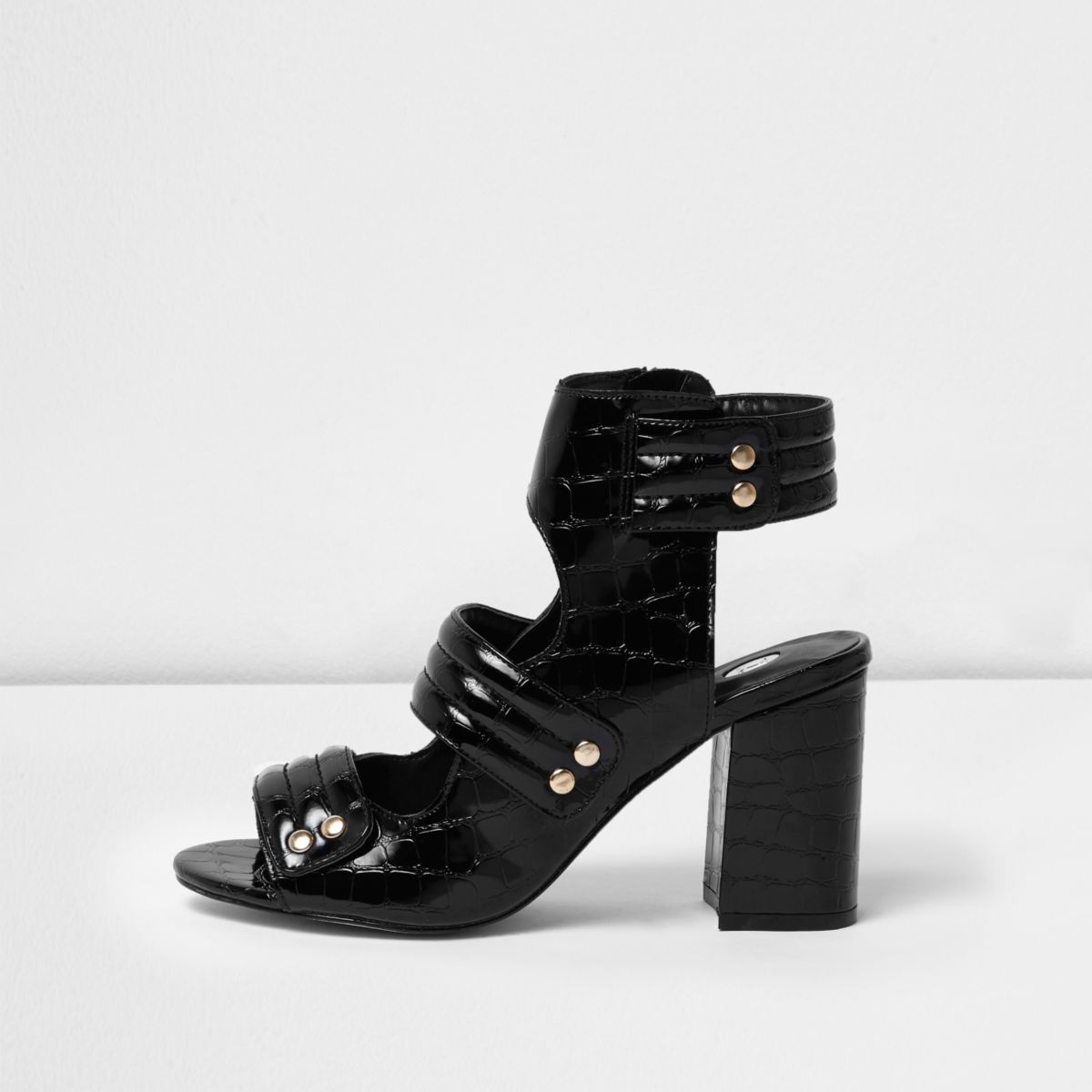 Zwarte lakleren schoenen met krokodillenprint en bandjes