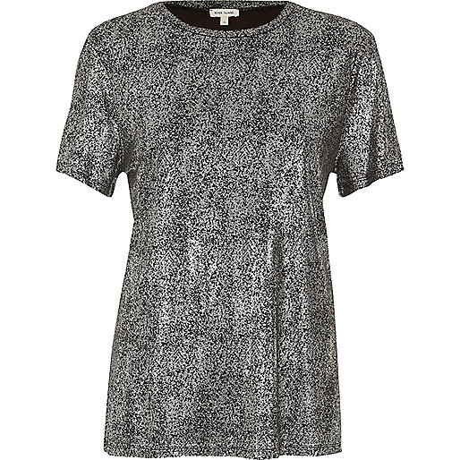 T-Shirt in Silber-Metallic