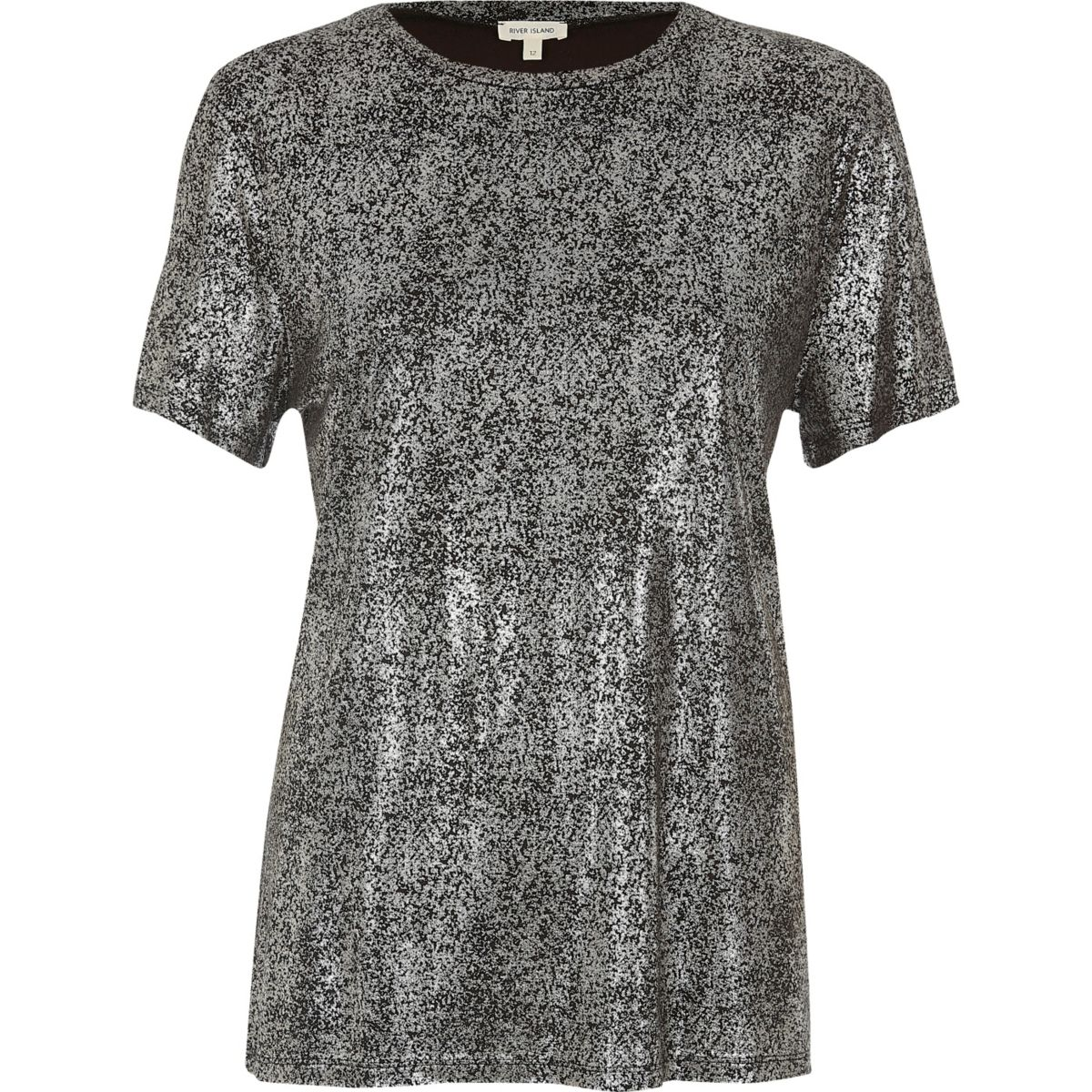 T-Shirt in Silber-Metallic