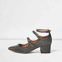 Metallic strappy Mary Jane shoes