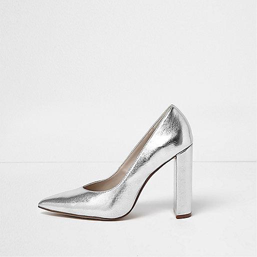 Silver block heel court shoes