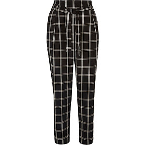 Black checked soft tie tapered trousers