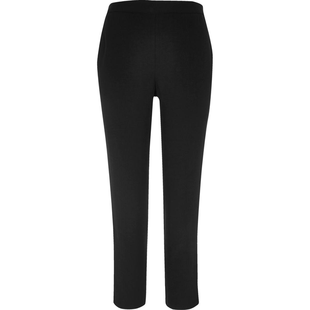 Black side stripe woven trousers