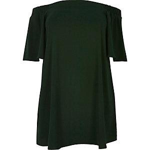 RI Plus green bardot swing dress