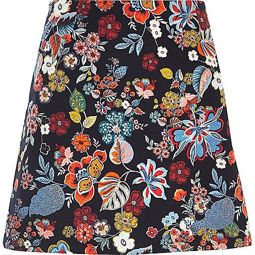 Blue floral print pelmet skirt