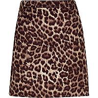 Mini jupe à imprimé léopard marron