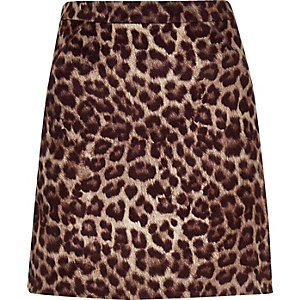 Brown leopard print mini skirt