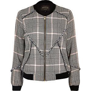 Black patterned bomber jacket