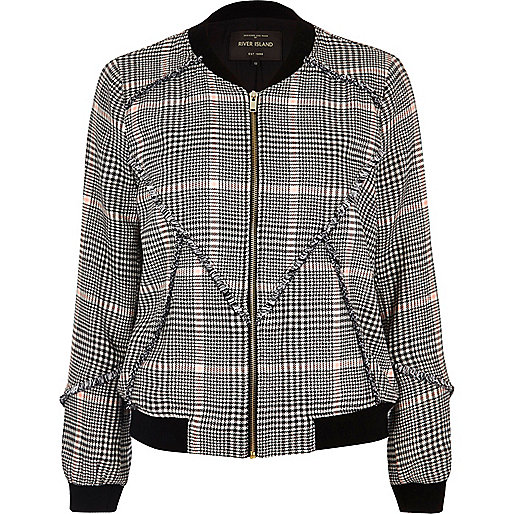 Black patterned bomber jacket