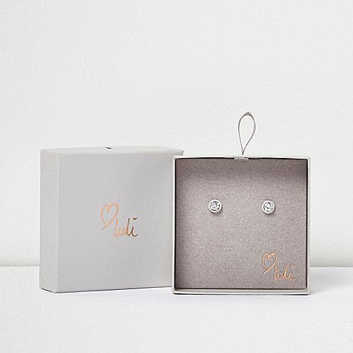 Love Luli – Versilberte Ohrringe mit Ziersteinchen