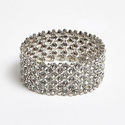 Silver crystal embellished bracelet