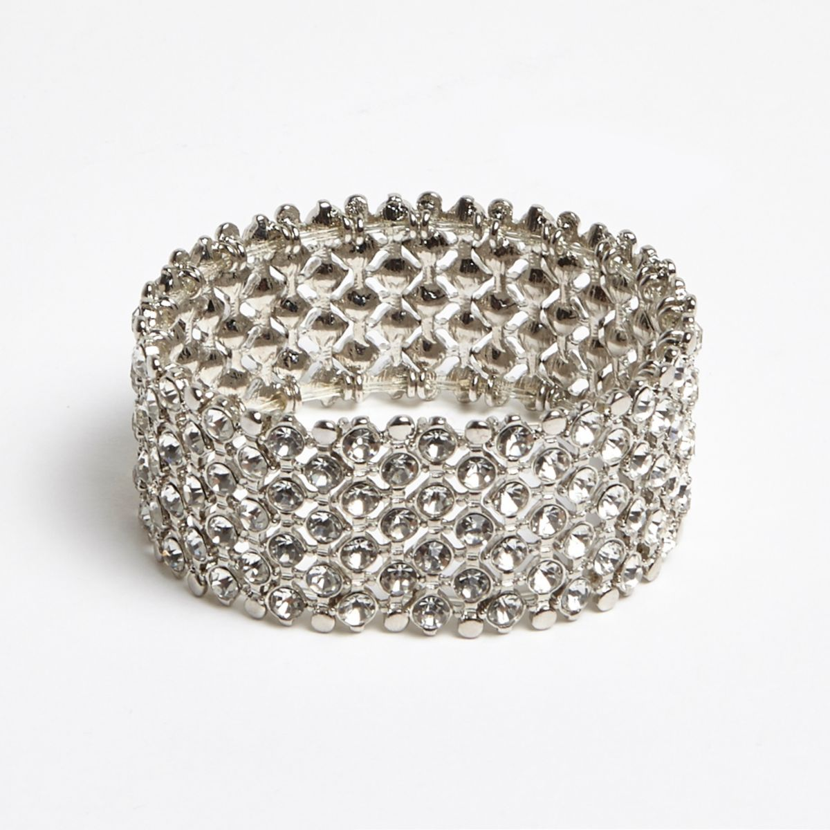 Silver tone diamante embellished bracelet
