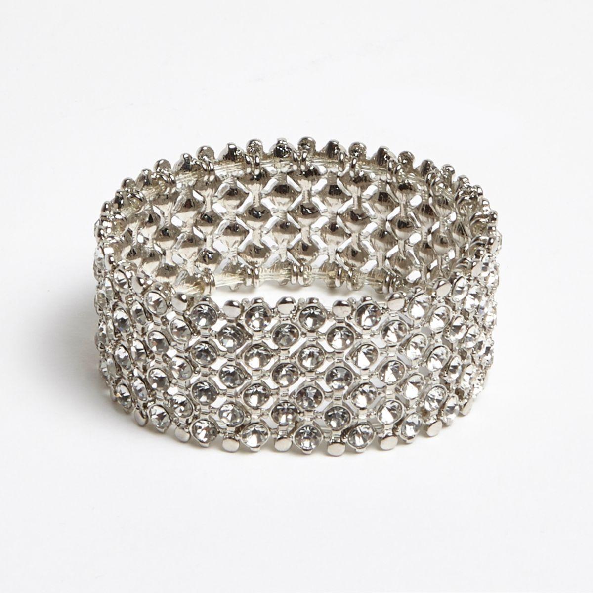 Silver tone rhinestone embellished bracelet