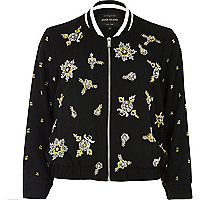 Black bead embellished bomber jacket