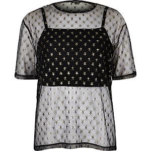 Black mesh star print boxy T-shirt
