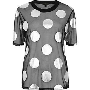 Black polka dot mesh boxy T-shirt