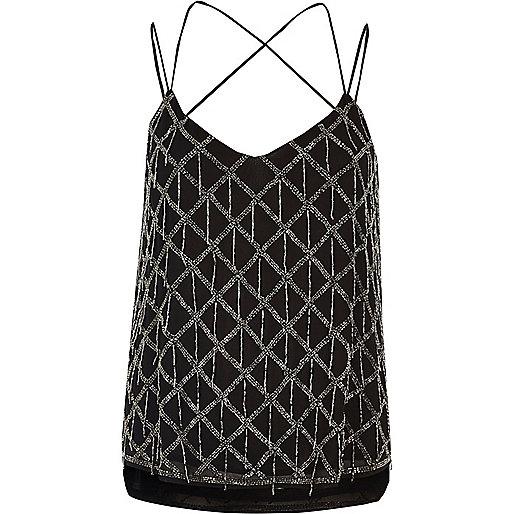 Black embellished cami top