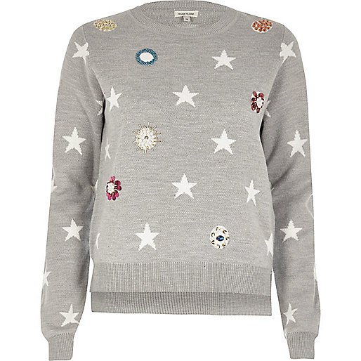 Grey embellished star knit sweater